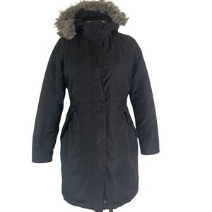 THE NORTH FACE Women's Black Arctic Parka Down Filled Jacket Faux Fur Hood S